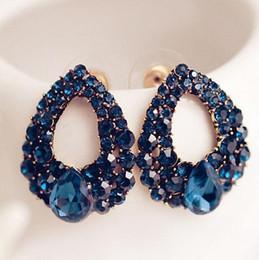Wholesale Sapphire Cz Earrings - Fashion Austrian Crystal Stud Earrings Blue Sapphire CZ Diamond Water Drop Earrings Stud Women Girls Ladies Jewelry