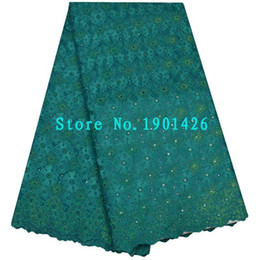 Wholesale Swiss Voile Lace Sale - Hot sale Green 100% Cotton African high quality Rhinestones Swiss voile lace fabric Nigerian lace fabric 5 yards SYT15