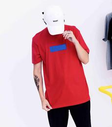 Tee shirts rouges en Ligne-Haute Qualité Nouvelle Boîte Logo T-shirts D'été Mode Rouge T-shirts Violet Logo T-shirt Hommes Et Femmes Coton T-shirt D'été Tee