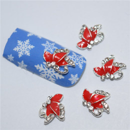 Wholesale 3d Metal Charms - 40pcs lot New Red Butterfly Wings 3D Metal Alloy Nail Art Decoration Charms Studs Nails 3d Jewelry #145