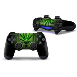 Wholesale leave stickers - Green Leaves Design Vinyl Decal for PS4 Controller Skin Stickers Protector 2 PCS Controllers Skin Stickers 1 Pair Controller Sticker
