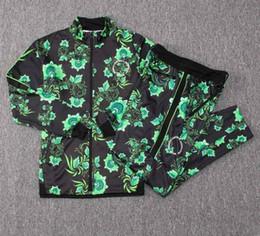 Штаны зеленого трикотажа онлайн-Нигерия спортивный костюм зеленый цветок длинный рукав футбол куртка 18-19 Нигерии длинные молнии STARBOY Okocha кофта комплект футбол костюм брюки