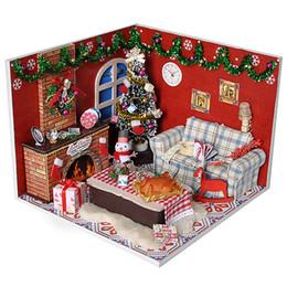 Деревянные пазлы ручной работы онлайн-Поделки из дерева миниатюрные Кукольный дом мебель игрушка миниатюре головоломки модель ручной работы кукольный домик Рождество