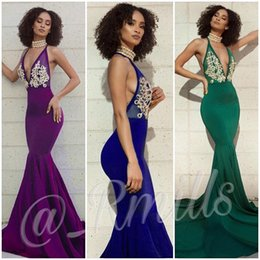 Wholesale Fishing Art - 2018 Sexy Plunge V Neck Prom Dresses Appliques Mermaid Fish Train Elegant Backless 2K17 2K18 Formal Evening Occasion Party Gown