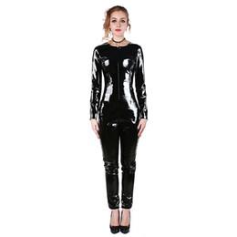Wholesale zentai crotch zipper - Hot Sale Fashion Women Latex Catsuit with Back Zipper Under Crotch Black Natrual Rubber Maillot Plus Size W491253