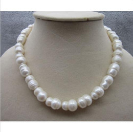 Canada TRES BEAU COLLIER PERLE BAROQUE NATUREL AKAYA BLANC 18 PO 10-14MM AAA supplier akoya pearl necklace 18 inch Offre