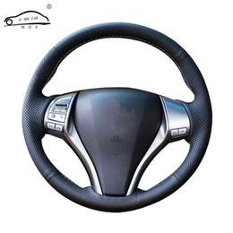 nissan x trail cover Rebajas Trenza del volante del coche de cuero artificial para Nissan Teana Altima 2013-2016 X-Trail QASHQAI Rogue / Custom made cubierta de la dirección
