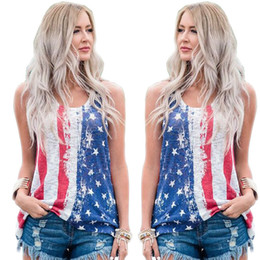 Wholesale tee shirt femme sexy - 2018 fashion t shirt women summer tee shirt femme manche summer American Flag sleeveless female t-shirts sexy camisas mujer
