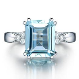 2019 blaue stein silberne schmucksachen New Big Blue Rechteck Stein Silber Ring für Frauen Engagement Modeschmuck 2018 günstig blaue stein silberne schmucksachen