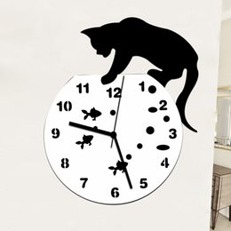 watches cat designs Promo Codes - Hot Selling Naughty Cat Acrylic Clock Wall Clock Modern Design Home Decor Watch Wall Sticker