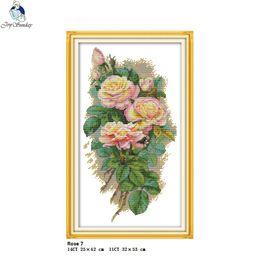 vendita all'ingrosso The Rose 7 Contati Punto Croce Kit DMC DIY 11CT 14CT Punto Croce Ricamo A Mano nkf Needlework da