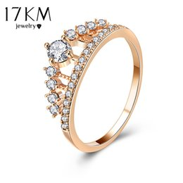 Wholesale Wholesale Bridal Wedding Rings Sets - whole sale17KM Cubic Zirconia Crown Rings For Women Fashion Rose Gold Color Crystal Ring Female Party Wedding Engagement Bridal Jewelry