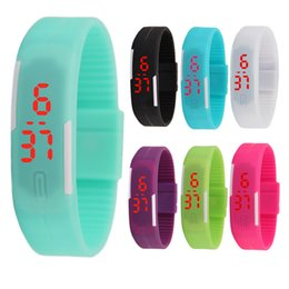 touch bracelet Coupons - 2015 2016 2017 Sports rectangle led Digital Display touch screen watches Rubber belt silicone bracelets Wrist watches 2018