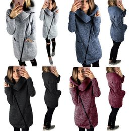 Wholesale 5t Cardigan - Women Side Zipper Coats Long Sleeve Hoodie Sweater Autumn Winter Casual Outwear High Collar Pullover Blouse OOA4367