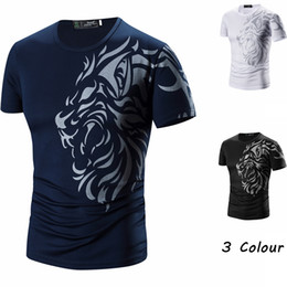 Tatuagens de manga curta on-line-Tattoo Printed Short Sleeves Crew Neck Men T shirts Summer Casual Daily Wear Clothing Black White Navy