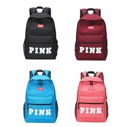 Wholesale school backpack pink - 4 Color PINK Letter Backpacks 2018 Student Fashion Large Female Travel Backpack For School Bag Outdoor Travel Bags CCA9668 12pcs