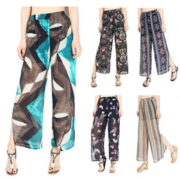 Wholesale Wide Leg Trousers Chiffon - Women Floral Chiffon Wide Leg Pants Spring Summer Patchwork Casual Loose Irregular Trousers 13 Styles LJJO4765
