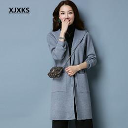 2020 damen wollkleidung XJXKS mit Kapuze Schärpen schnüren sich woolen Mäntel für Damen, die hochwertige beiläufige streetwear Frauen mischen, beschichten Mantel rabatt damen wollkleidung
