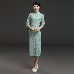 Wholesale elegant qipao - Sexy Chinese Dress Traditional Women's Cheongsam Cotton Linen Qipao Elegant Long Dress Party S M L XL XXL 3XL 042402
