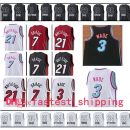 Wholesale Miami Shorts - 2017-2018 Miami Men's 3 Dwyane Wade Jersey 7 Goran Dragic 21 Hassan Whiteside Embroidery Logos Basketball Jersey