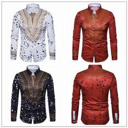 Wholesale xxl mens luxury casual shirts - 3 Colors Men Floral Printed Long Sleeve Shirt Turn-down Collar Tops Luxury Brand Mens Dress Shirts National Casual Shirts CCA9114 5pcs
