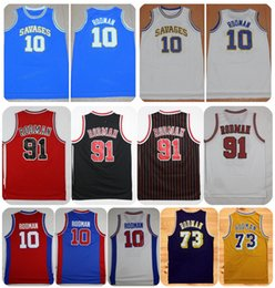 Wholesale yellow worms - Oklahoma Savages Dennis Rodman College Basketball Jerseys The Worm 10 73 91 Dennis Rodman Shirts Cheap Stitched Basketball Jersey