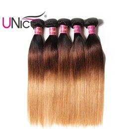 Wholesale Nice Silk - UNice Hair T1B 4 27 Ombre Straight Bundles Remy Human Hair Weaves Indian 4 Bundles Human Hair Extensions Bulk Wholesale Nice Silk Straight