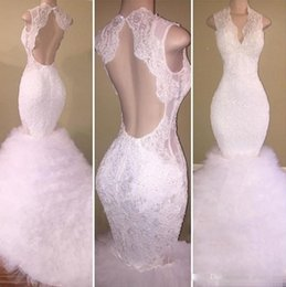Wholesale Tutu Dress One Shoulder - Gorgeous White Lace Prom Dresses 2018 Deep V Neck Open Sexy Back Mermaid Evening Dress Puffy Tutu Tulle Sweep Train Backless Party Dress