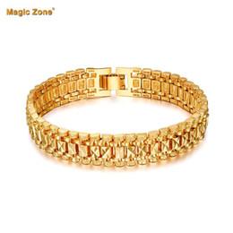 chunky gold armband frauen Rabatt Männlichen Armband Frauen Schmuck 12 MM Pulseira Maskulin Trendy Gold Farbe Chunky Kettenglied Armband Großhandel Bileklik Für Mann P166
