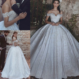 Wholesale Custom Fitted Ball Caps - Luxurious Beaded Arabic Wedding Dresses 2018 Ball Gowns Vestido de noiva Off Shoulder Appliques Beading Fitted Bridal Gowns Corset Back