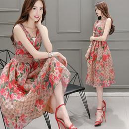 Été occasionnel jupe d'expansion des femmes de la mode col en V sans manches solide taille haute floral imprimé A-ligne dames robes ? partir de fabricateur