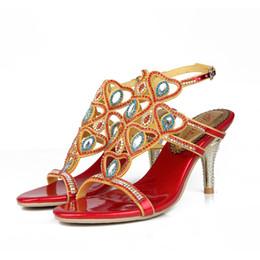 tacco di fucsia Sconti Argento oro nero rosso colore moda estate sandalo lussuoso strass festa di nozze scarpe da ballo con cinturino posteriore tacco a spillo