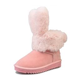 Diseño de la marca oreja de conejo antideslizante zapatos de algodón de invierno ventas directas de la fábrica 2018 nuevas maneras de las mujeres botas de nieve mejor venta B002 desde fabricantes