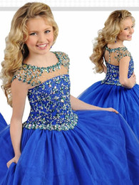 Rhinestone bordato manicotti della protezione online-2019 Royal Blue Organza Girls Pageant Dresses Jewel Capped Sleeves Beaded Strass Flower Girls 'Dresses for Party