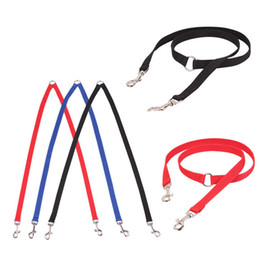 Wholesale Puppy Heads - 1PC convenient dual two heads pet dog leash outdoor double-headed doggy puppy walking lead safety rope srop shipping on sale