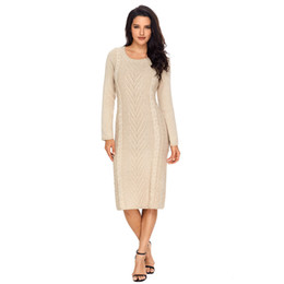 Vestido de textura on-line-Mulheres De Malha De Textura Camisola Vestido Moda Causal Mangas Compridas O Pescoço Midi Vestido para Outono Inverno Blusas Vestidos