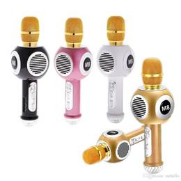 M8 Kablosuz Bluetooth Mikrofon Hoparlör Renkli Neon Işıkları Cep Telefonu Karaoke Canlı Mikrofon Evrensel Moda Mikrofonlar Sings nereden