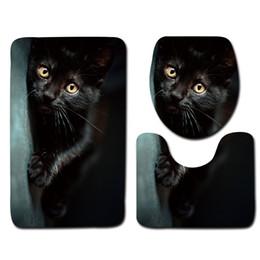 Alfombras de baño negras online-Juego de alfombrillas de baño negras ecológicas 3 piezas Patrón de gato Alfombra de baño antideslizante Alfombra de baño de espuma suave Conjuntos de alfombrillas de baño modernas