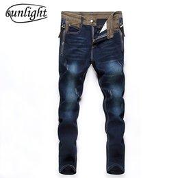 Wholesale Korean Men Style Slim Trousers - 2017 New Fashion Jeans Men Korean Style High Street Slim Fit Button Personality Vintage Classical Denim Pants Plus Size Trousers