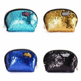 Wholesale Wedding Cosmetic Bags - Sequin Handbags Women Portable Travel Cosmetic Bag Makeup Case Mermaid Sequins Evening Bag For Girls Wedding Clutch Bag 20pcs OOA4647