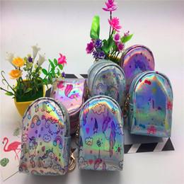 Wholesale laser skull - 2018 new unicorn sequins fantasy mini wallet shinny Laser mini coin purse earphone bag children birthday gifts