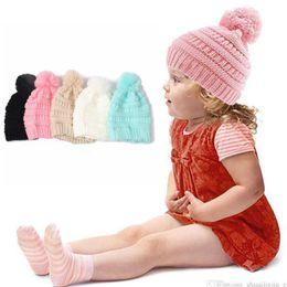 tapas de tejido de cable Rebajas Los niños de moda Beanie sombreros de punto Chunky Skull Caps Cable de invierno Slouchy Crochet sombreros moda exterior caliente de gran tamaño sombreros OOA2452