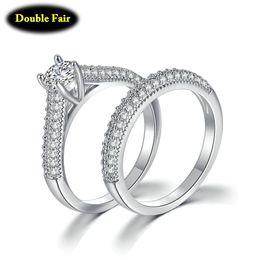 bbf4a99f7ba6 Nuevos Conjuntos nupciales de moda con anillos de circonia cúbicos  completos para compromiso de las mujeres Anillo de joyería de color blanco    amarillo oro ...