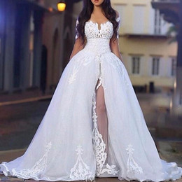 Wholesale Detachable Long Sleeve Bridal - 2018 Arabic White Elegant Off The Shoulder Wedding Dresses with Overskirt Long Sleeve Lace Bridal Wedding Ball Gowns with Detachable Train
