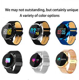 2019 против женщин Новый Q8 OLED Bluetooth смарт-часы из нержавеющей стали водонепроницаемый носимого устройства Smartwatch наручные часы Мужчины Женщины фитнес-трекер против DZ09 Z60 Y1 скидка против женщин