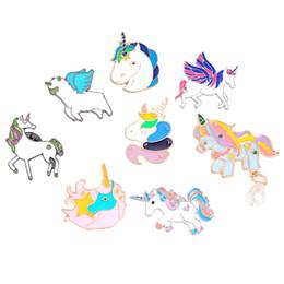 Pins de distintivo de botão on-line-Pônei Com Asas Cavalo Unicórnio Cervo Broche Botão Pins Jaqueta Casaco Pinos Emblema Animal Dos Desenhos Animados Jóias Presente para As Crianças