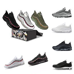 Wholesale Blue Grey Classic - 2018 Mens Sneakers Shoes classic 97 Men Running Shoes Black White Trainer Cushion Breathable Man Walking Sports Shoes size 36-46eur