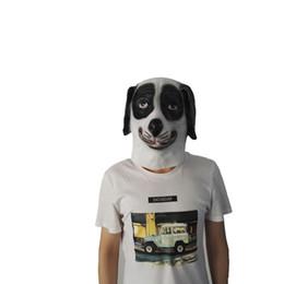 Máscara de perro negro online-Hanzi_masks Halloween Perros moteados en blanco y negro Máscara de tocado Máscara de perro de flor de zodíaco Tocado de látex de animal Cara completa