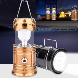 2019 éclairage d'urgence vintage Camping en plein air tente de lanterne lampe de poche pliable lumière d'urgence 6 LED lampe rechargeable portable solaire USB recharge
