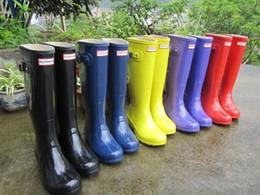 Wholesale Tall Waterproof Boots Women - Women RAINBOOTS fashion Knee-high tall rain boots waterproof welly boots Rubber rainboots water shoes rainshoes